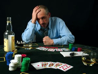 guy playing poker and loosing